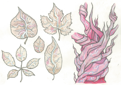 Leaves that emit a high-pitched scream when one steps on them.  Capilliaries of capilliaries, magnified.