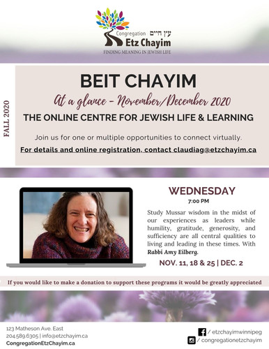 Beit Chayim Fall 2020 - Wednesday 7pm