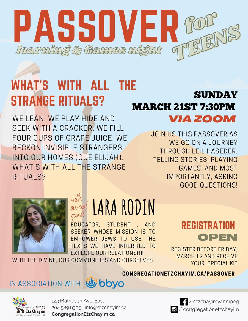Passover with Lara Rodin Program - Optio