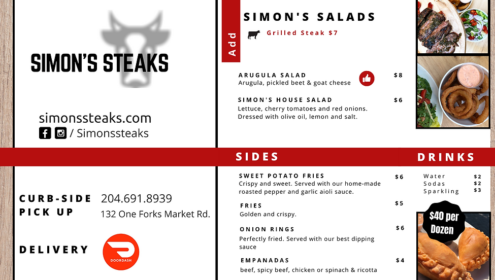 Pick up and delivery menu Jan 2021 page