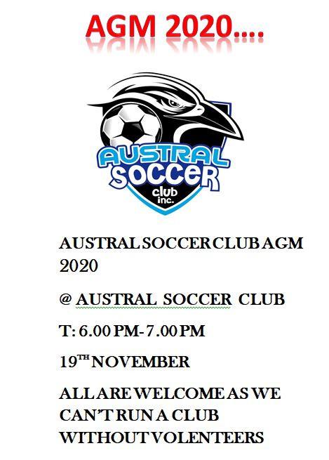 AGM 2020 @AUSTRAL SOCCER CLUB