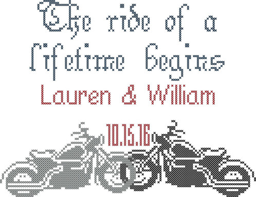 Motorcycle Wedding Cross Stitch Pattern, Personalized for you ...