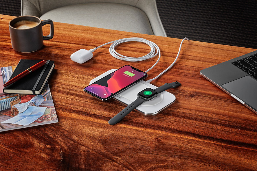 Office desk with wireless charging pad