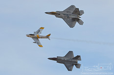 Aviation Nation - 2016  Lockheed Martin F-22 Raptor 422nd Test and Evaluation Squadron  North American F-86F Sabre 'Jolley Roger' Planes of Fame Air Museum  Lockheed Martin F-35A Lightning II F-35A Lightning II Demonstration Team - United States Air Force  Heritage Flight