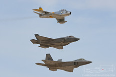Aviation Nation - 2016  North American F-86F Sabre 'Jolley Roger' Planes of Fame Air Museum  Lockheed Martin F-35A Lightning II F-35A Lightning II Demonstration Team - United States Air Force  Lockheed Martin F-22 Raptor 422nd Test and Evaluation Squadron  Heritage Flight