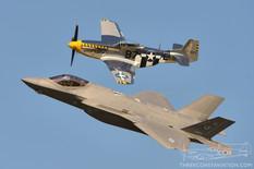 Airshow London - 2017  North American P-51D Mustang 'Bald Eagle'  Lockheed Martin F-35A Lightning II  Heritage Flight