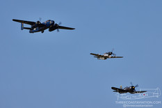 EAA AirVenture Oshkosh - 2021  North American B-25J Mitchell 'Devil Dog' Commemorative Air Force  North American P-51D Mustang 'Quick Silver'  Chance Vought F4U-4 Corsair