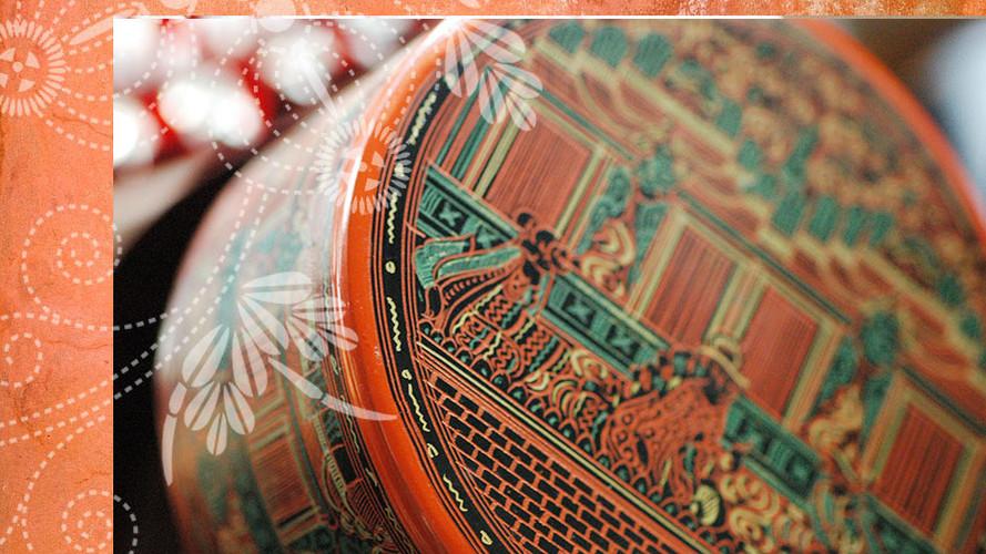 ミャンマーのキンマ漆の筒箱