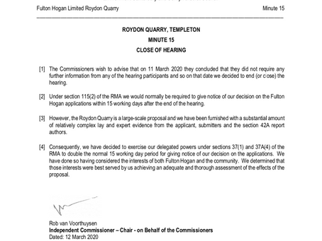 Important Roydon Quarry Update