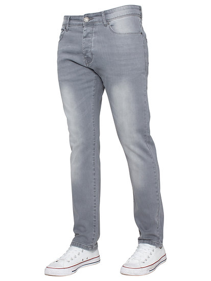 Mens Slim Fit Stretch Grey Denim Jeans |  Grey