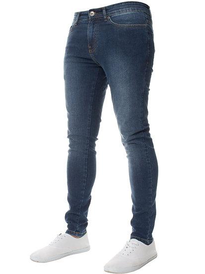 Mens Dark Stonewash Combat Denim Jeans |  Mid Stonewash