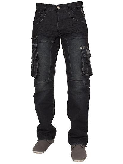 Mens Dark Wash Combat Denim Jeans EZ319 |  Blue