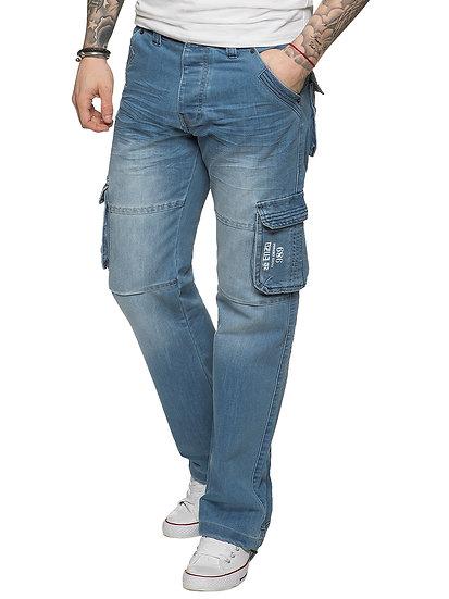 Mens Black Wash Combat Denim Jeans EZ08