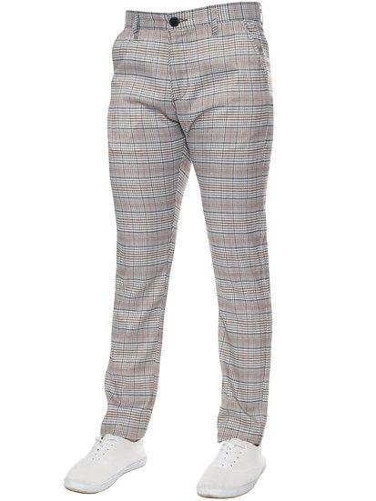 ETO   Mens Designer Checked Slim Fit Trousers