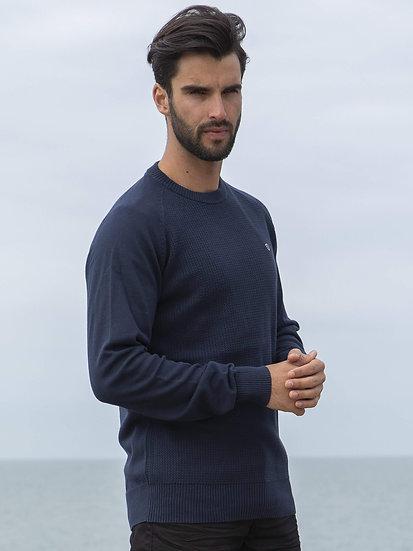 ETO | Designer Men's Navy Crew Neck Knitwear Style Brave