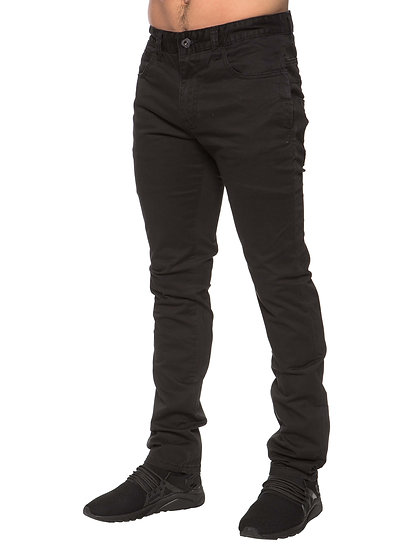 ETO | Mens Designer Black Regular Tapered Fit Denim Jeans