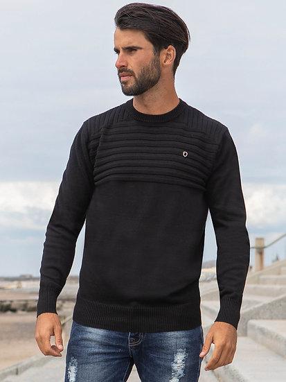 ETO | Designer Men's Black Ribbed Knitwear Style Destiny