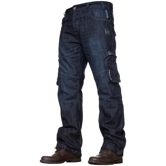 Mens Dark Blue Combat Denim Jeans