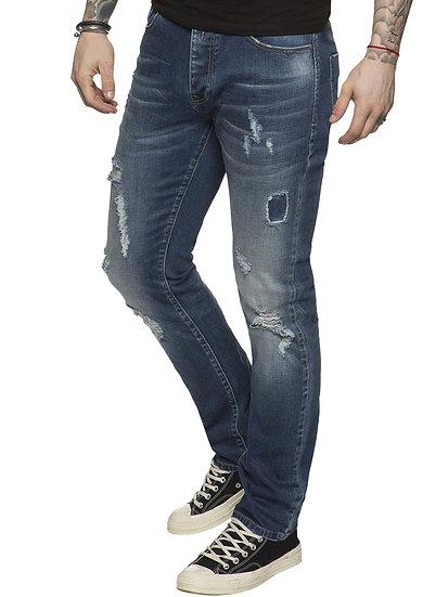 ETO | Designer Mens Ripped Blue Tapered Denim Jeans