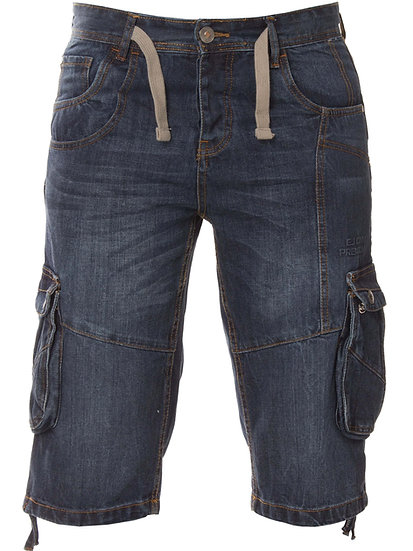ETO | Designer Mens Dark Blue Denim Combat Shorts