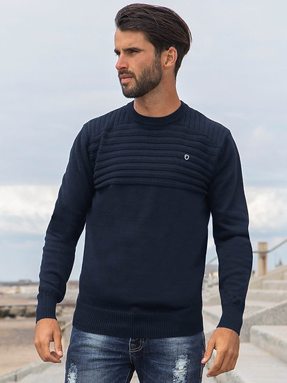 ETO | Designer Men's Navy Ribbed Knitwear Style Destiny