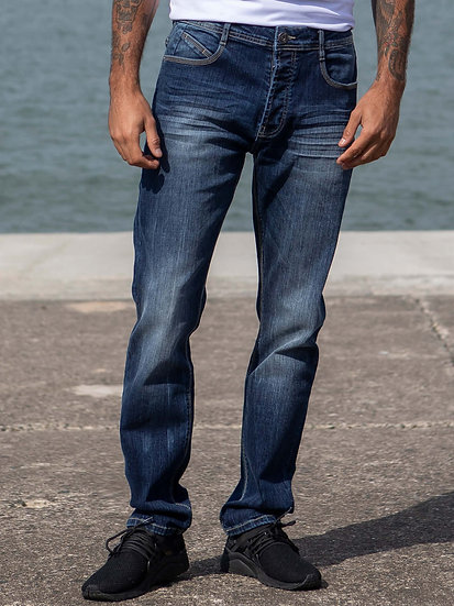 ETO | Mens Designer Blue Tapered Fit Stretch Denim Jeans