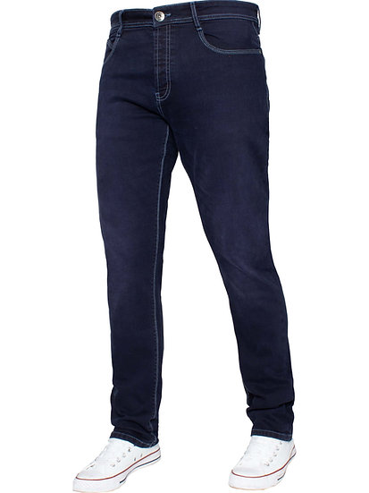 ETO | Mens Designer Navy Tapered Fit Stretch Denim Jeans