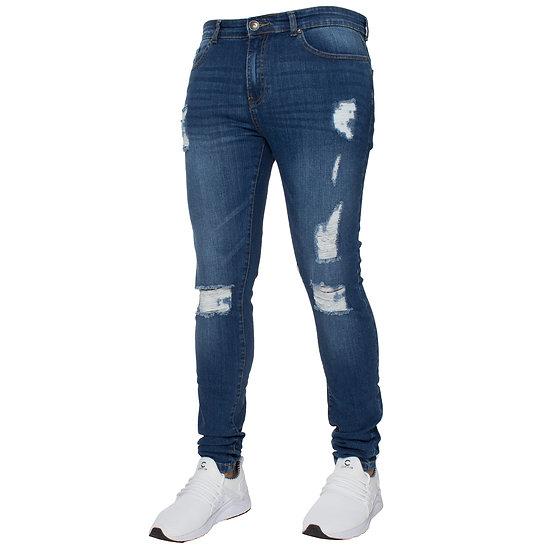 Mens Super Skinny Stretch Ripped Jeans |  Dark Stonewash