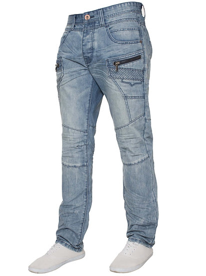 ETO | Mens Designer Distressed Light Blue Tapered Jeans