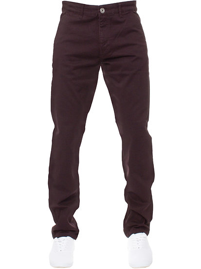 Mens Tapered Fit Burgundy Stretch Pants |  Burgundy