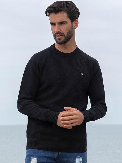 ETO | Designer Men's Black Crew Neck Knitwear Style Brave