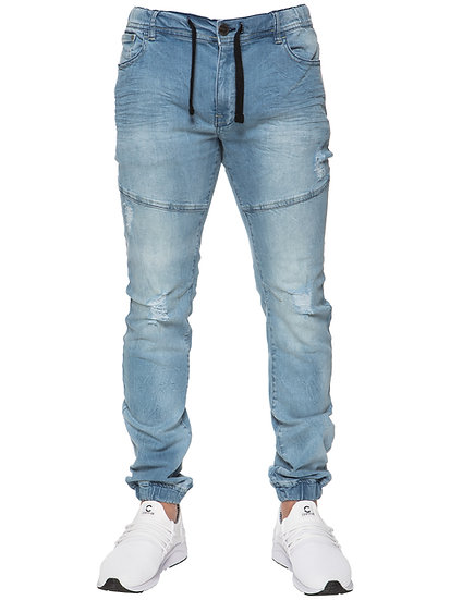 Mens Designer Blue Self Cuffed Jeans