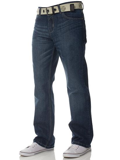 Mens Mid Wash Jeans with Belt EZ15 |  Mid Stonewash
