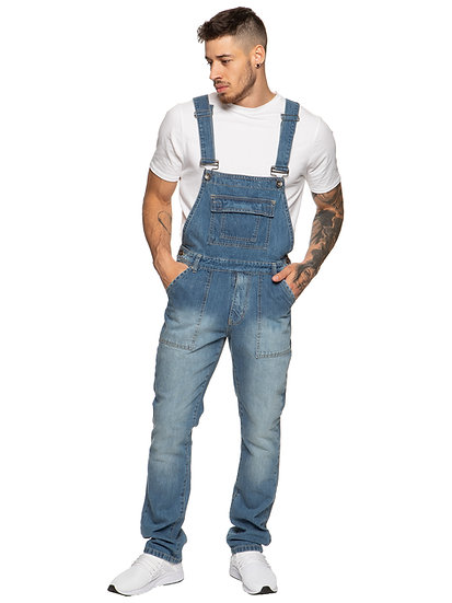 Mens Enzo Denim Light Blue Designer Dungarees