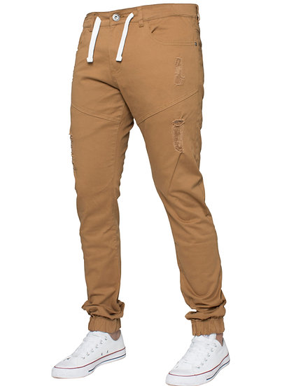 Mens Designer Tan Cuffed Twill Jeans