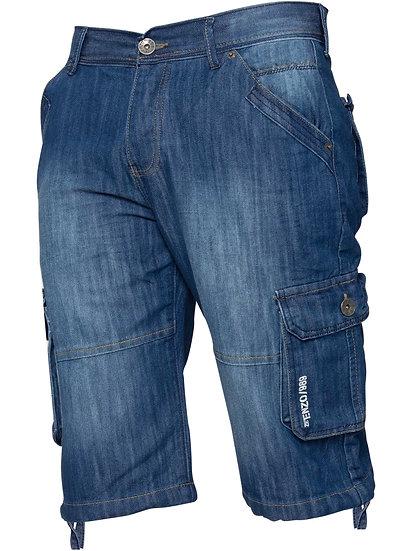 Enzo Jeans Mens Cargo Combat Denim Shorts
