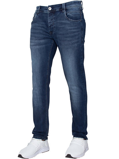 ETO Mens Designer Blue Straight Leg Tapered Denim Jeans