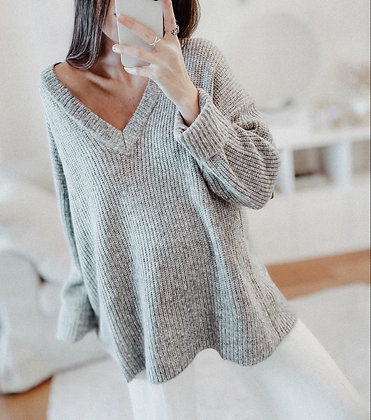 Grey Knit Oversized Sweater