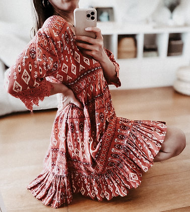 Aztec Red Embroidery Dress