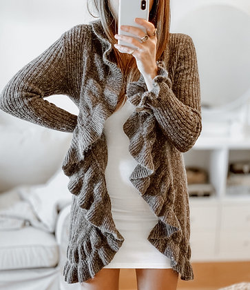 Knit Ruffle Brown Cardigan