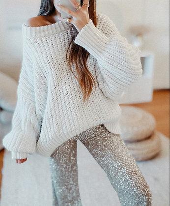 Oversized White Knit Sweater
