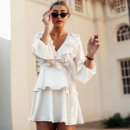 Douce White Ruffle Dress