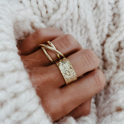Less Is More 925 Gold-Plated Silver Ring