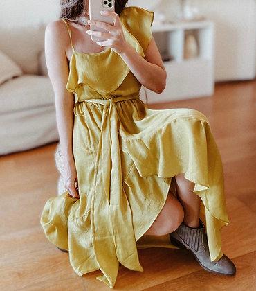 Yellow Satin Ruffle Dress