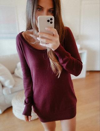 Burgundy Knit Sweater Dress