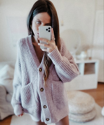 Lilac Oversized Knit Cardigan