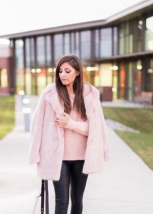 Faux Fur Light Pink Coat