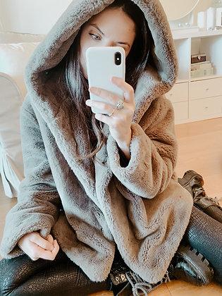 Grey Faux Fur Hooded Coat