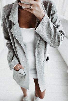 Grey Knit Blazer Cardigan