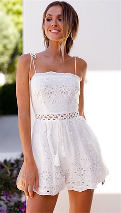 Flower Embroidery White Jumpsuit